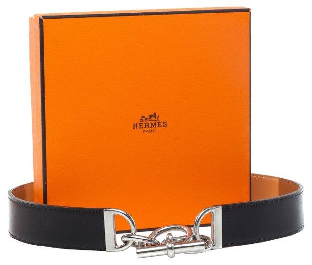 Hermès Belt w/ Silver Buckle, 80cm