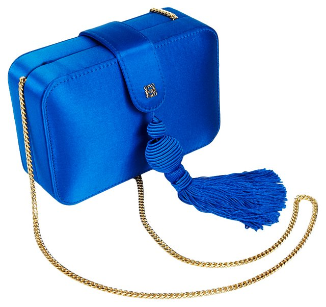 Loewe Blue Tassel Satin Evening Bag