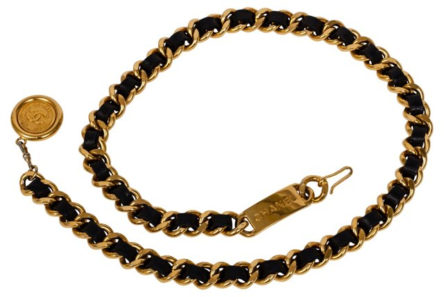 Chanel Black Lambskin Chain Belt