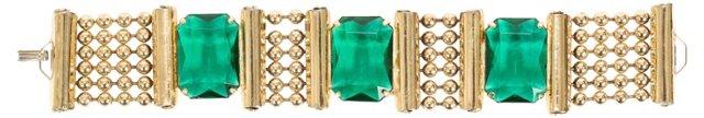 Emerald Glass & Goldtone Chain Bracelet