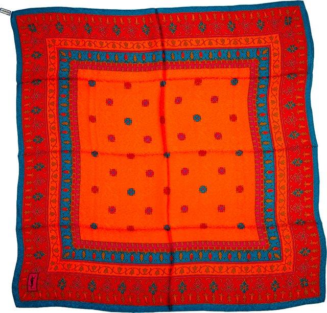 YSL Orange Floral Silk Scarf