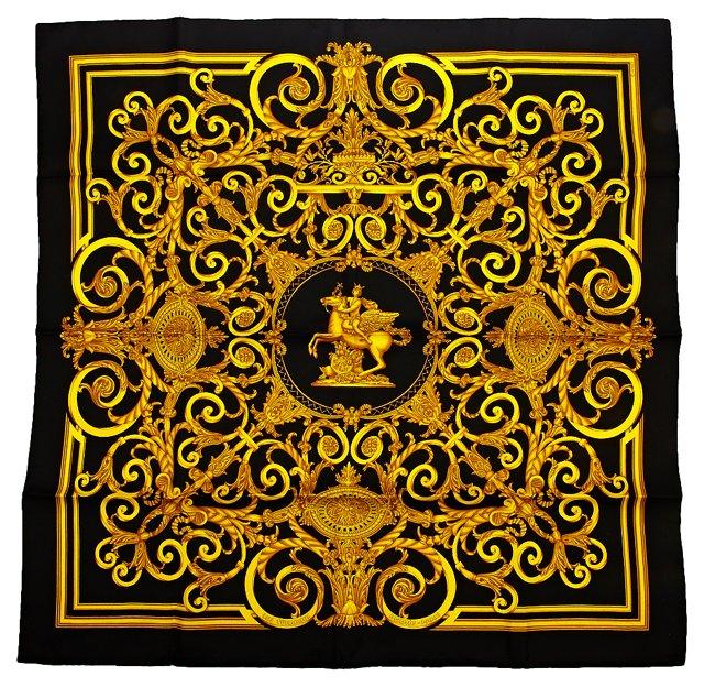 Hermès Les Tuileries Black Silk Scarf