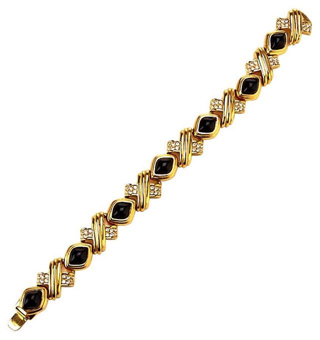 Nolan Miller Black Rhinestone Bracelet