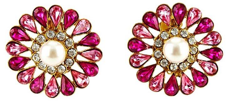 1960s Faux-Pearl Rhinestone Earrings