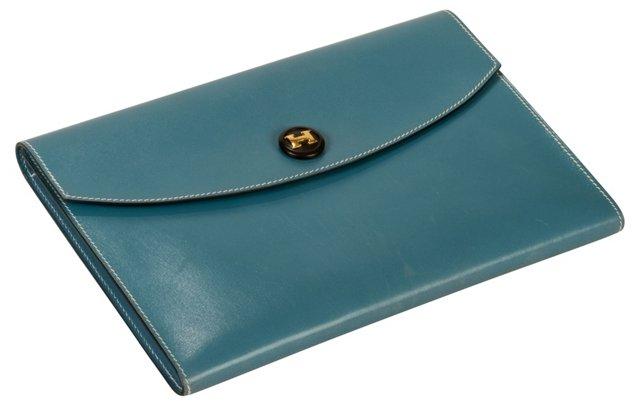 Hermès Blue Jean Box Calf Clutch
