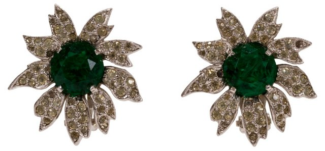 Panetta Emerald Rhinestone Earrings