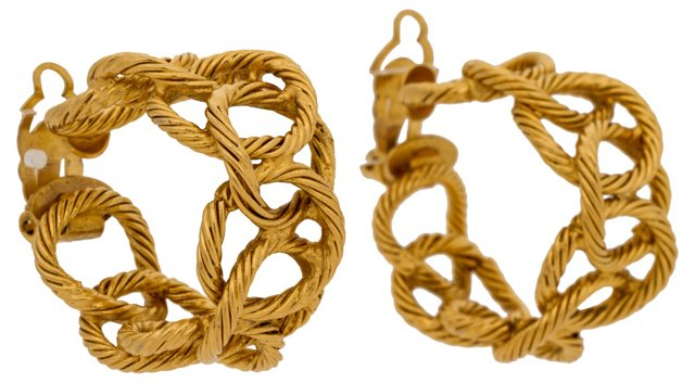Chanel Gold-Plated Link Hoop Earrings