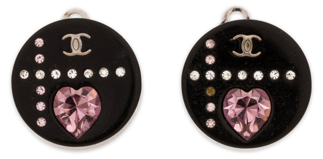 Chanel Black Rhinestone Earrings