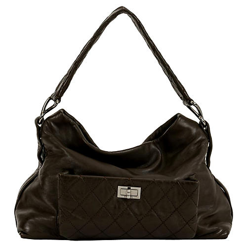 Chanel Coffee Lambskin Shoulder Tote