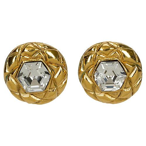 Chanel Crystal Headlight Earrings