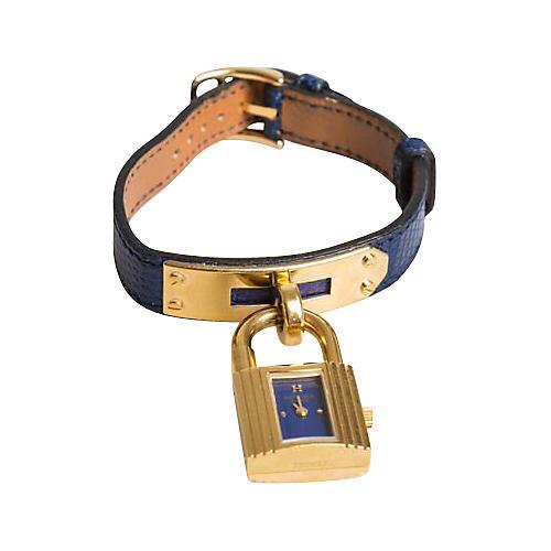 Hermès Kelly Blue Lizard & Gold Watch