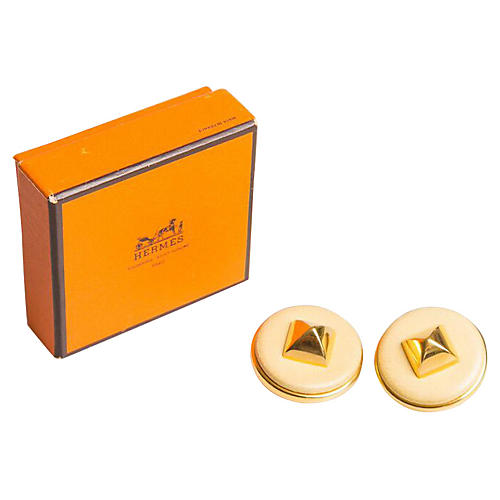 Hermès Cream Leather Medor Earrings