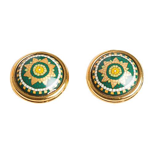 Hermès Green Gold Mosaic Enamel Earrings