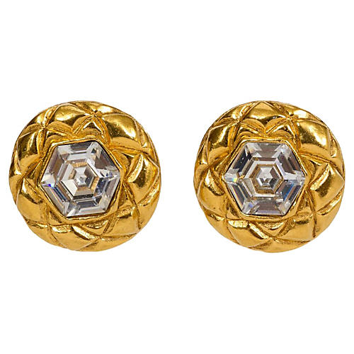 Chanel Crystal 70's Quilted Earrings