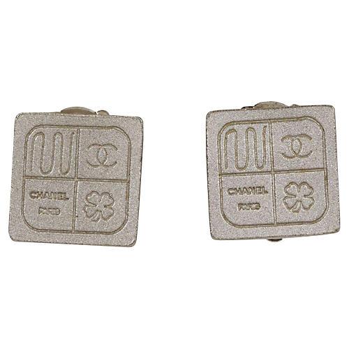 Chanel Mini Silver Cube Earrings