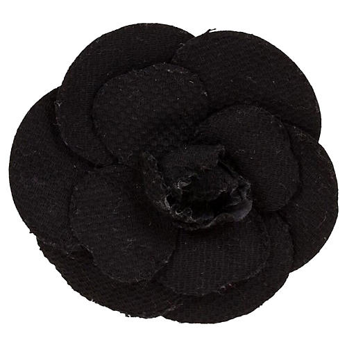 Chanel Black Textured Large Camellia Pin