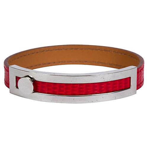 Hermès Red Lizard & Palladium Bracelet