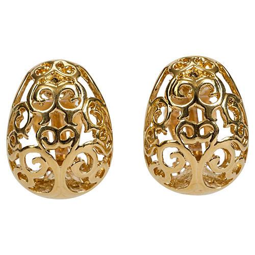 YSL Gold Filigree Clip Back Earrings
