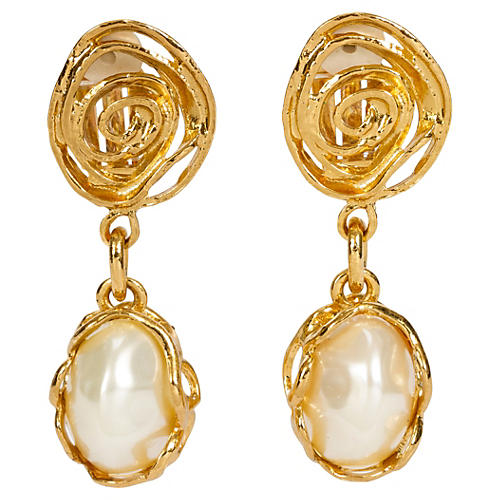 YSL Faux-Pearl Gold Drop Earrings