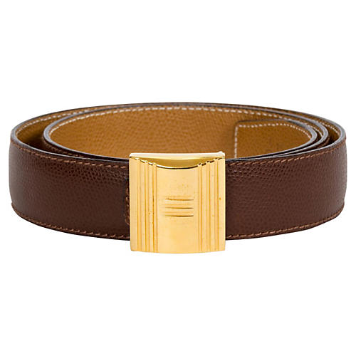 Hermès Brown & Gold Lock Reversible Belt