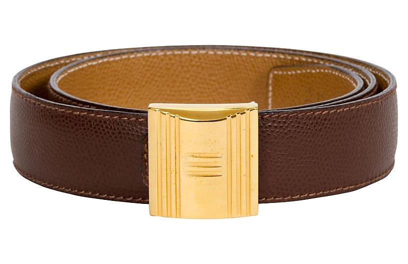 Hermès Brown & Gold Lock Reversible Belt