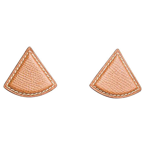 Hermès Gold Epsom Triangular Earrings