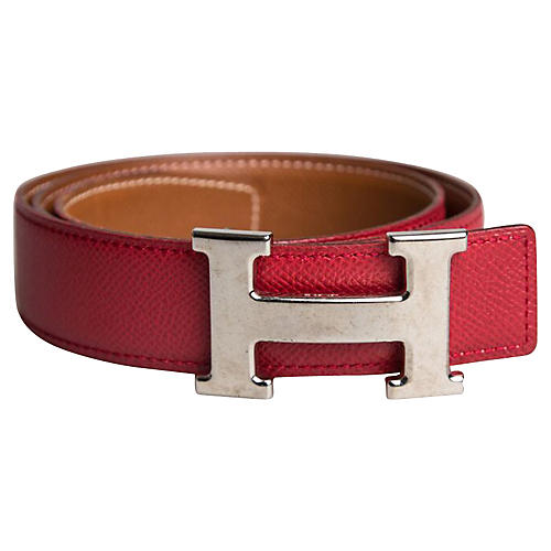 Hermès Red & Gold Reversible Belt