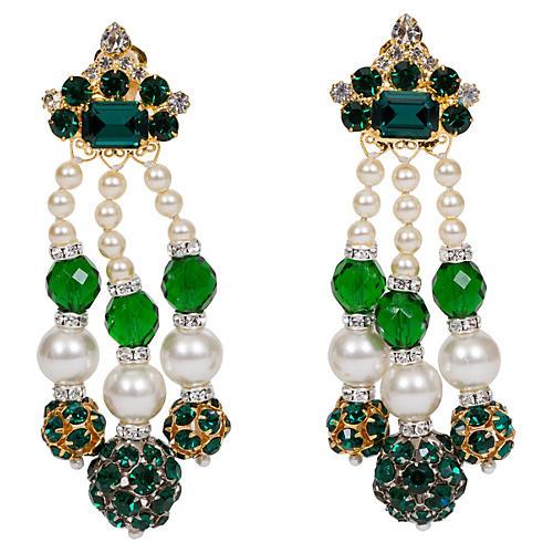 Vrba Emerald & Pearl Drop Earrings