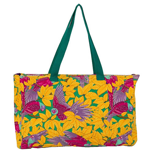 Hermès Large Yellow Parrots Beach Bag