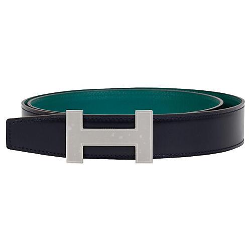 Hermès Blue & Malachite Reversible Belt