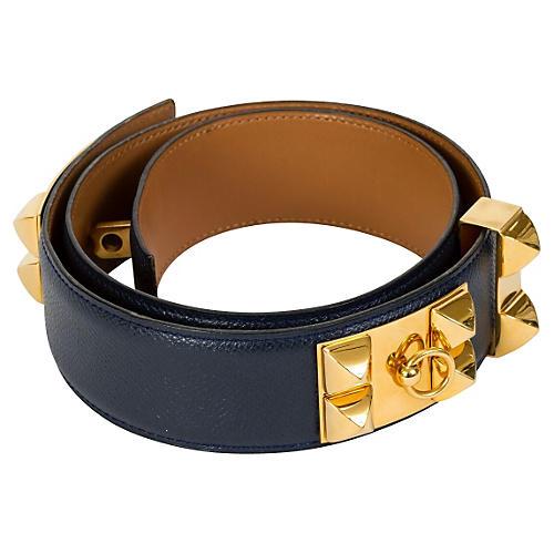 Hermès Iconic Collier de Chien Blue Belt