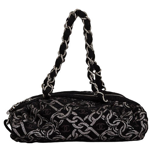 Chanel Black & Silver Brocade Tote