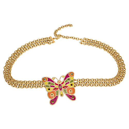 Valentino Gold Butterfly Belt Necklace
