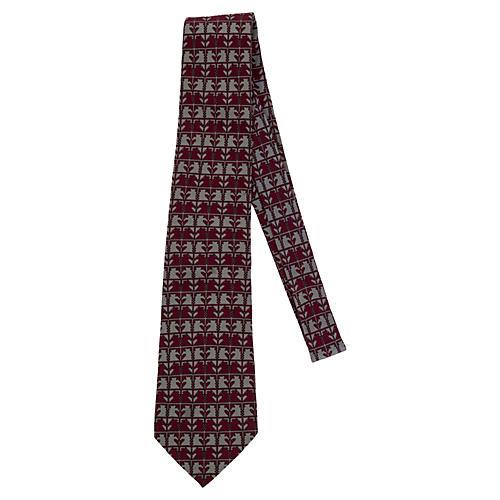 Hermès Burgundy & Gray Horses Tie