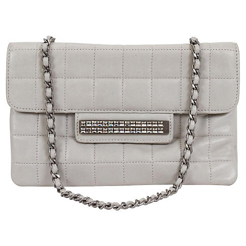 Chanel Gray Lambskin Evening Bag