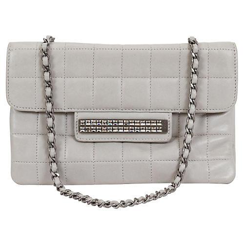 Chanel Gray Lambskin Evening Bag