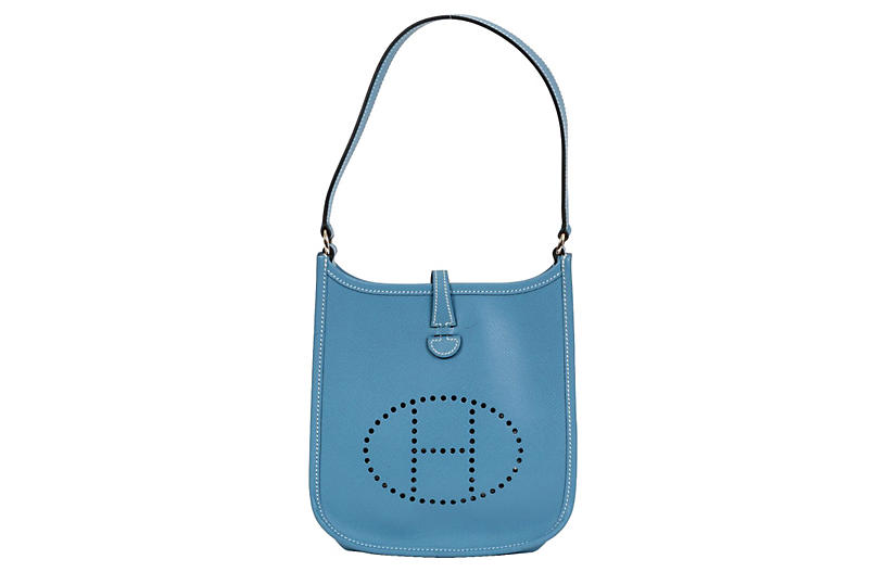 Hermès Mini Blue Jean Evelyne Bag