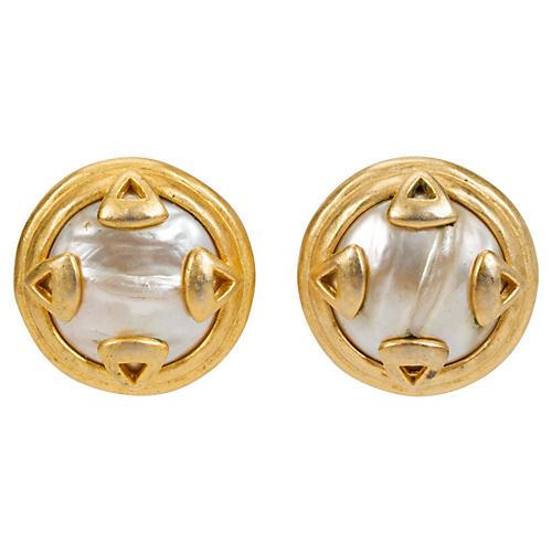 Large Karl Lagerfeld Gold Pearl Earrings