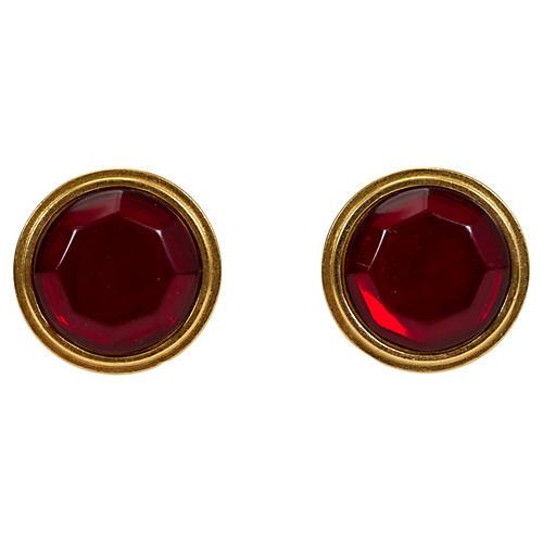 Oversize Gold & Ruby Red YSL Earrings