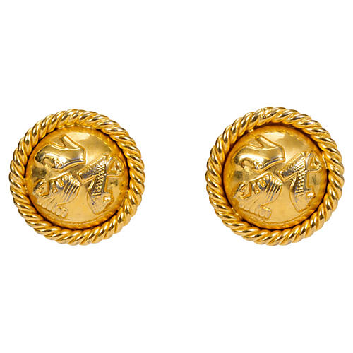 Ferragamo Gold-Plated Button Earrings