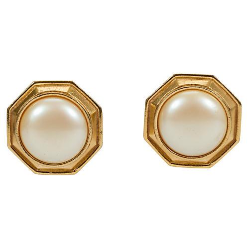 Oversize YSL Faux-Pearl Earrings