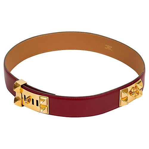 Hermès Rouge H Collier De Chien Belt