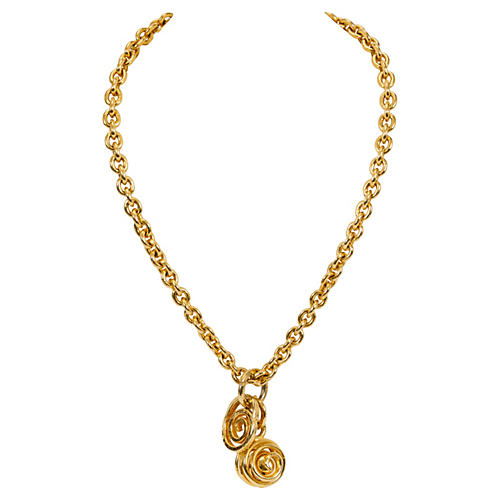 Gold Celine Double Charm Necklace