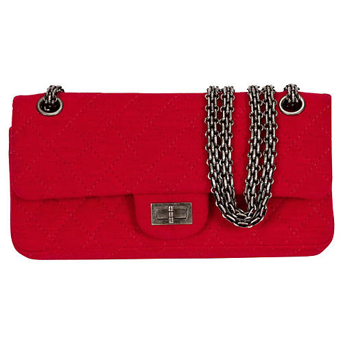 Chanel Red Jersey Double Flap Bag