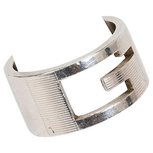Gucci Sterling Silver Cutout Logo Ring