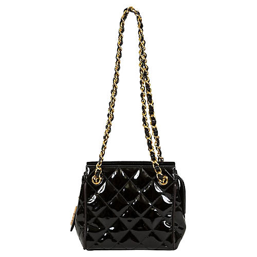 Chanel Black Patent Evening Shoulder Bag