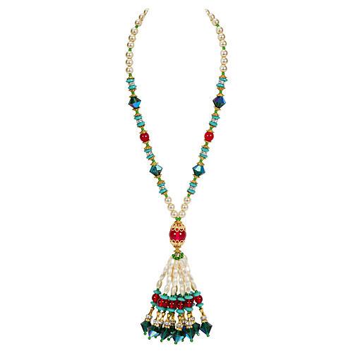 Vrba Fringe Beaded Pearl Necklace