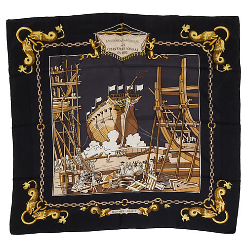 Hermès Black Silk Navel Ship Scarf