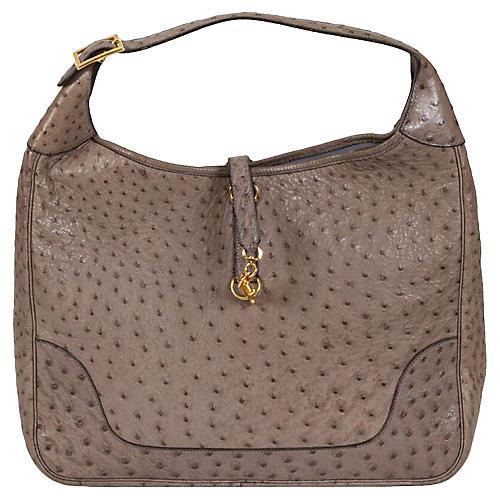 Hermès Oversize-Trim Etoupe Ostrich Bag