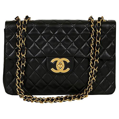 Chanel Black Lambskin Maxi Flap Bag